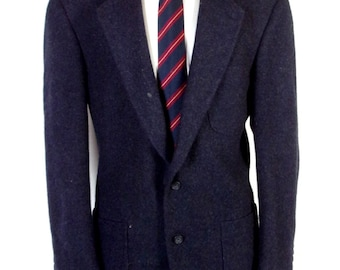 9d77d0d0a3a euc Lands  End Navy 100% Wool Tweed Patch Pocket Blazer Sportcoat Jacket sz  43 L