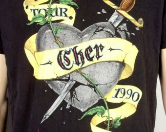 c23e8cdb1 vtg 80s 90s retro 1990 Cher Heart of Stone Tour T-Shirt Concert Classic Pop  XL