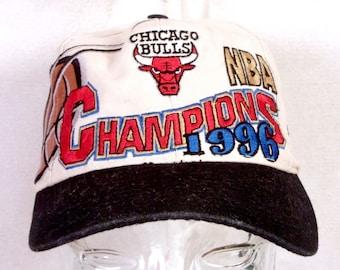 536d2038f95 vtg 90s Logo Athletic Rare Chicago Bulls 1996 NBA Champs Snapback Jordan  Pippen