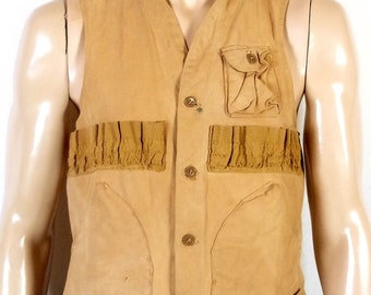 5200f6292e10c vtg 50s 60s Blue Bill Redhead Duck Canvas Hunting Vest shell slots game  pouch M