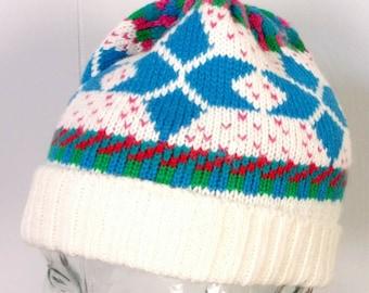 e25d5a5375d890 vtg 80s Saks Fifth Avenue Wool Blend Geometric Stocking Ski Cap Hat Winter  10