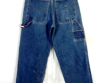 9a469b45 vtg 90s Tommy Hilfiger Men's Dark Carpenter Jeans Flag Logo Loop hip hop 31  X 32