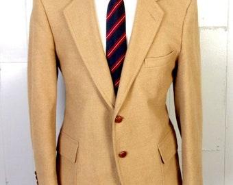 c006bd9d5 euc Madison Avenue vtg Beige Herringbone 100% Wool Tweed Blazer Sportcoat  40 S