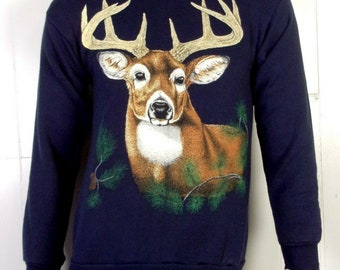 16a6626b2a48c vtg 80s retro Animal Pattern Stag Buck Deer Sweatshirt Hunting indie punk  S/M