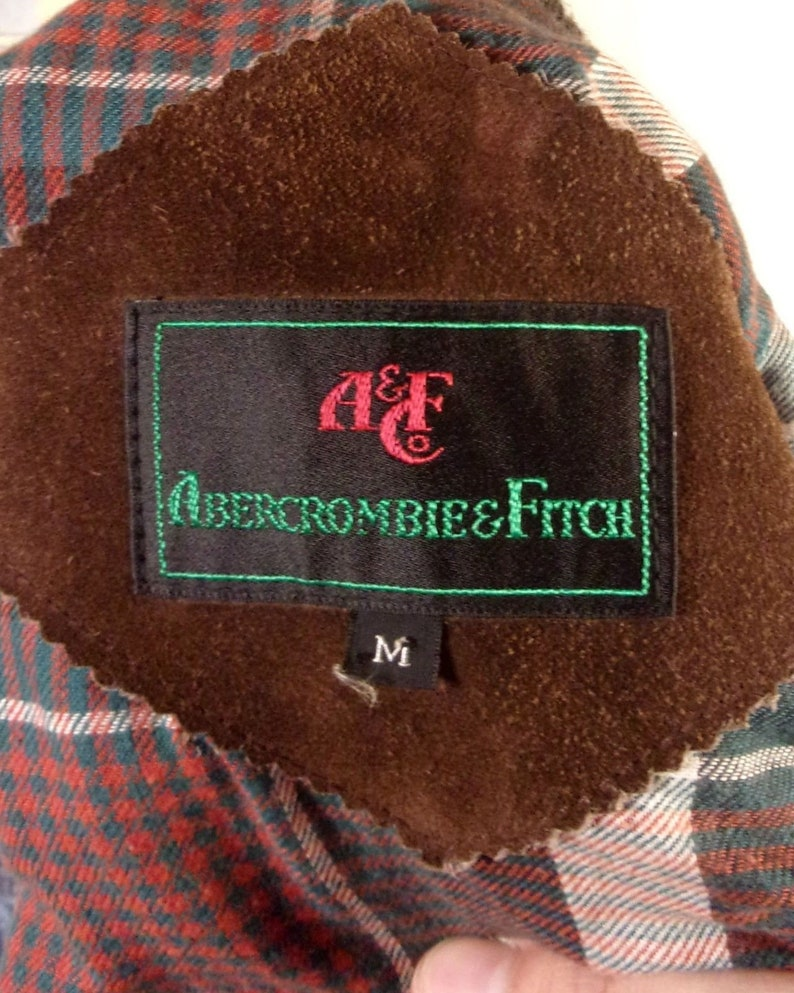 5256780fe vtg 70s Abercrombie & Fitch Men's Brown Leather Jacket Bomber Plaid Flannel  M
