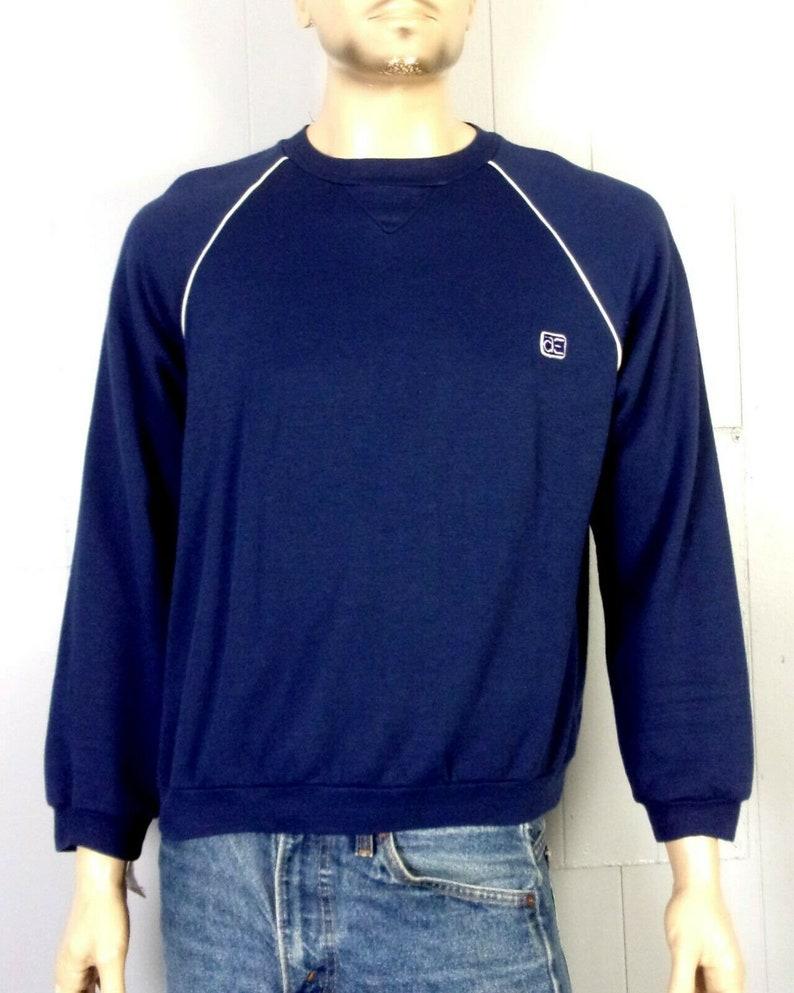 vtg 70s 80s At Ease AE amazing Retro Navy Blue Raglan Sweatshirt White Trim L