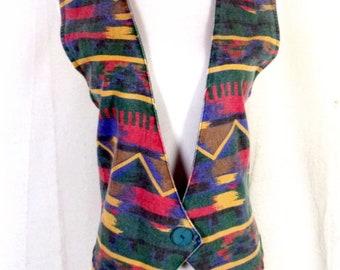 vtg 80s 90s Stampede USA made Southwest Denim Jean Vest Aztec sz L