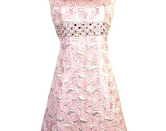 vtg 50s Carlyle Pink Silver Lurex Formal Jackie O Dress Prom Rhinestones 34