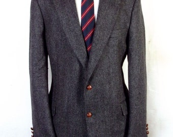 euc Winthrop & Wales Gray Herringbone 100% Wool Tweed Blazer Sportcoat 41 L