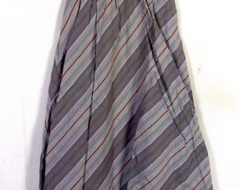 vtg 70s Summit Sportwear Gray/Beige Diagonal Stripe A-Line Skirt cotton 22 waist