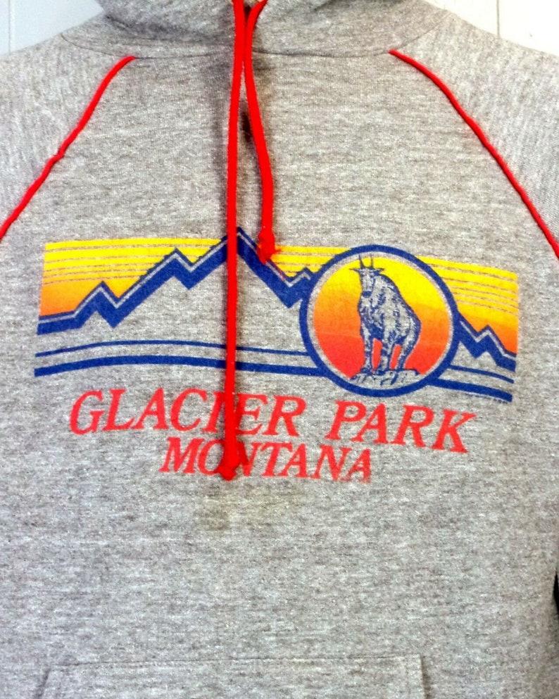 vtg 80s Rayon Tri Blend Ringer Hoodie Sweatshirt Glacier Park Montana Sunset L