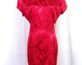 vtg 80s Roberta Shiny Red Asian Oriental Style Wiggle Dress punk goth SZ 11/12