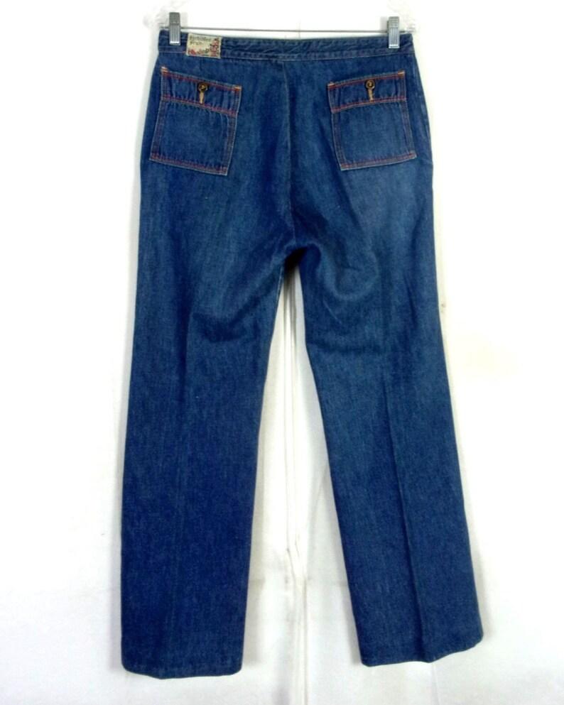 vtg 70s Forbidden Fruit by Metro Dark Wash Stretch Denim Jeans Flare 30 X 31