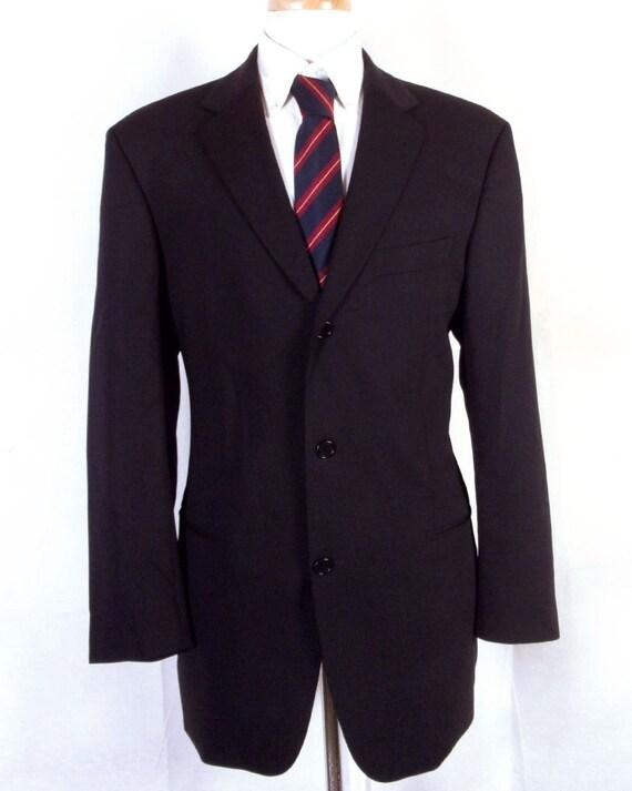 EUC Hugo Boss noir 100 % laine Einstein Beta nous Blazer Sportcoat 3 bouton 40 L
