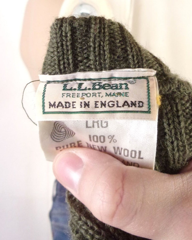 Bean UK made Shooting Style Ribbed Sweater Military wool L long vtg 80s L.L