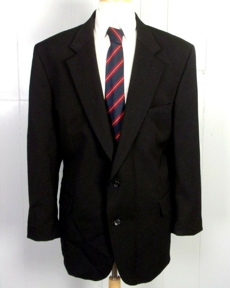 euc L.L Bean vtg Men/'s Solid Black 99/% Wool Lycra Blazer Zip Pocket 46 R