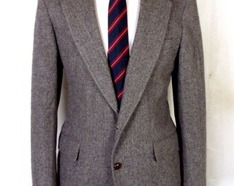 euc Cricketeer Gray Herringbone 100% Wool Tweed Blazer Sportcoat sz 40 R