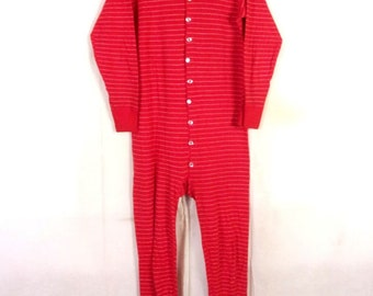 vtg Duofold USA mohawk NY Minty Red White Striped Union Suit Long Johns sz L