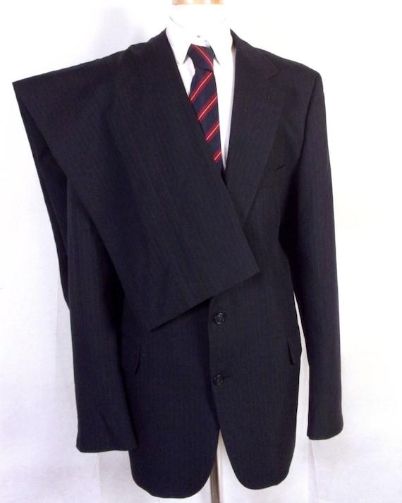 EUC Stafford exécutif bleu marine à rayures 100 % laine 2 Pc costume d'affaires sz 50 XL