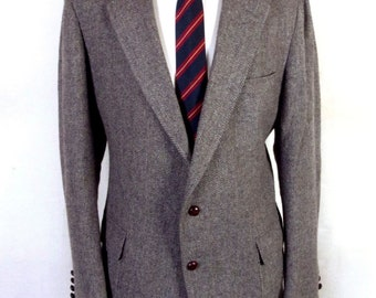 euc Cricketeer Gray Herringbone 100% Wool Tweed Blazer Sportcoat sz 44 L