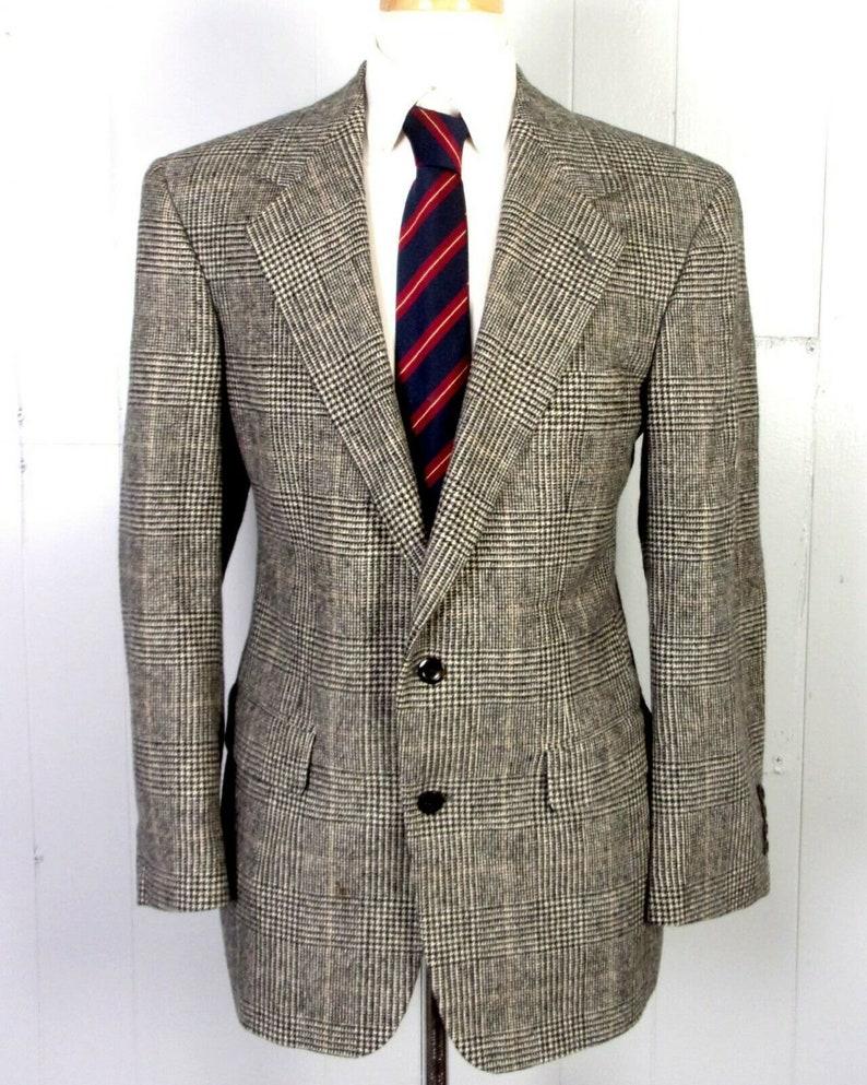 vtg 90s euc Grant Thomas Gray Glen Plaid 100/% Camel Hair Men/'s Blazer Sportcoat sz 40 R