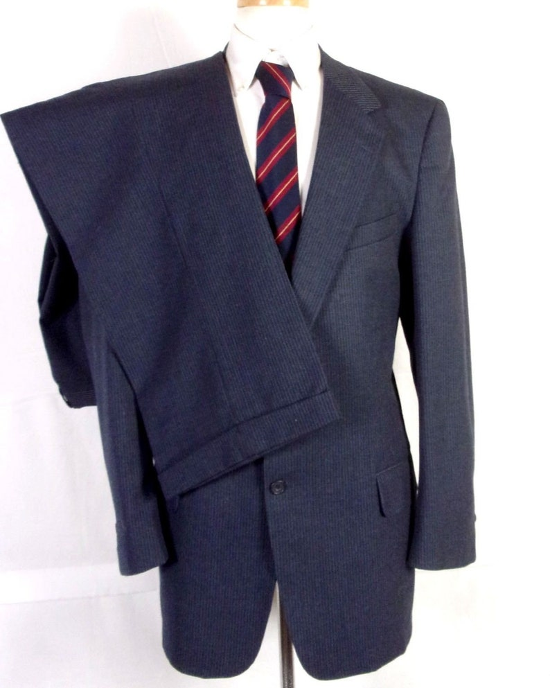 Gray Herringbone with Purple Pinstripe Very Fine Italian Pure Wool Suiting