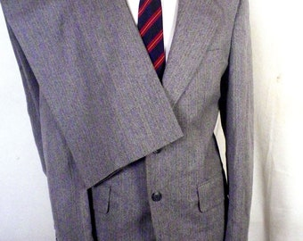 vtg 60s Palm Beach John Weitz Gray Herringbone 100% Wool Tweed 2 Pc Suit sz 42 L