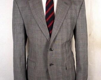 euc Izod gray Glen Plaid 100% Wool Blazer Sportcoat Jacket sz 41 R 40 42