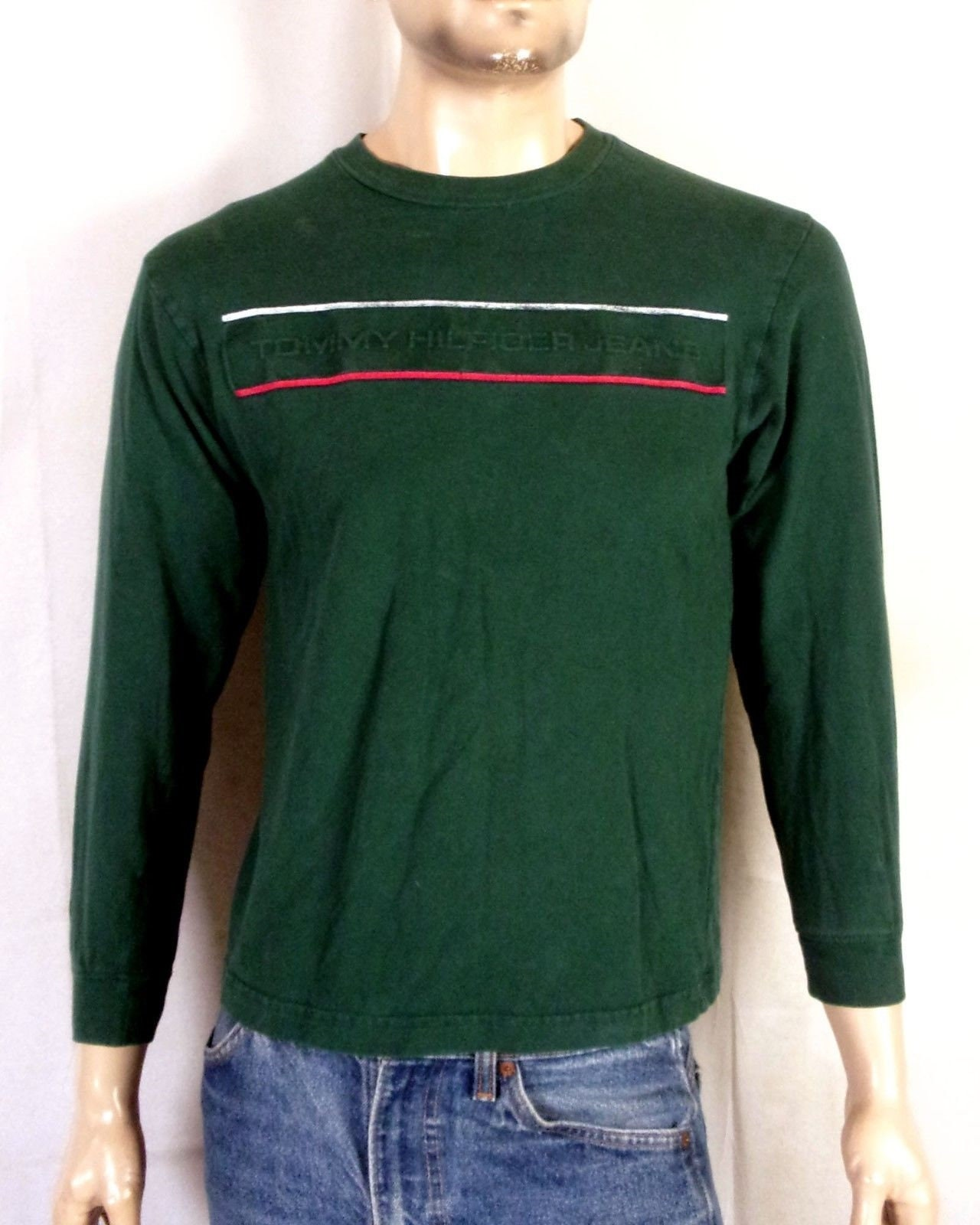 4f7c4de6 vtg 90s euc Tommy Hilfiger Spell Out Flag Logo LS Shirt   Etsy
