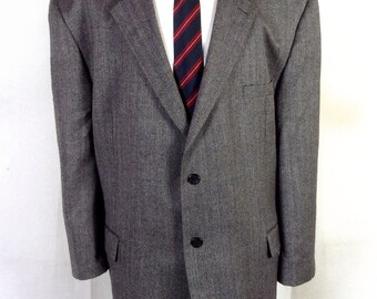 euc Joseph & Feiss gray Herringbone 100% Lambswool Blazer Sportcoat big man 54 R