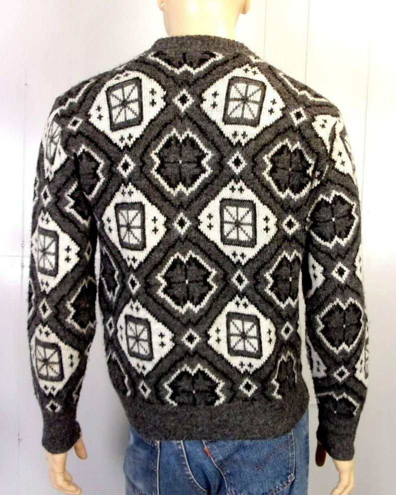 vtg 50s Campus Luxury Line Pure Orlon Crew Ski Sweater Geometric rockabilly ML