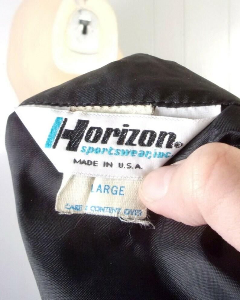 vtg 80s Horizon Men/'s Nylon Black Dodge Daytona Racing Jacket Cafe Racer sz L