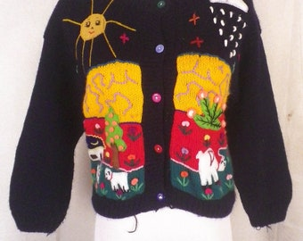 vtg 80s Loud Colorful Busy Cardigan Sweater sun rain sheep llama foreign S