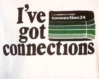 vtg 80s Commerce Bank Early ATM Debit Credit Card T-Shirt Artex Combed Cotton XL