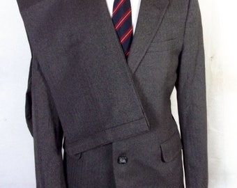 euc Jos. A. Bank Gray Herringbone 100% Wool Men's 2 Pc Business Suit sz 40 R