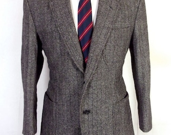 vtg Custom Hand Tailored Gray Herringbone Wool Tweed Blazer Patch Pocket 40 S