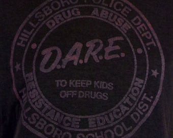 vtg 80s soft thin DARE To Keep Kids off Drugs T-Shirt Faded Straight Edge sz M/L