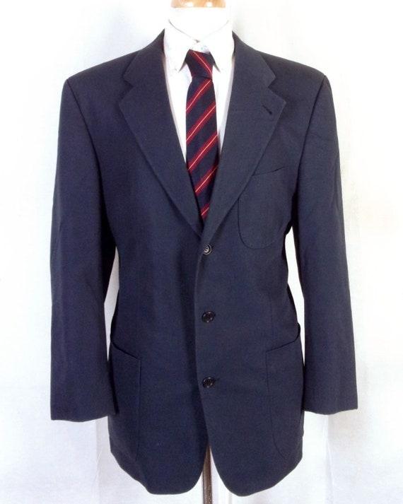 EUC Hugo Boss marine coton Vincente Blazer Sportcoat poche plaquée Allemagne 40 L
