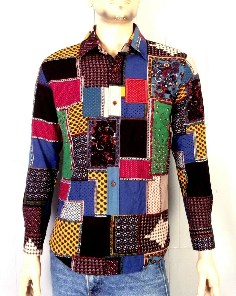 vtg 60s Minty Hippy Mod Linen Patchwork Print Button Down Dress Shirt sz SM