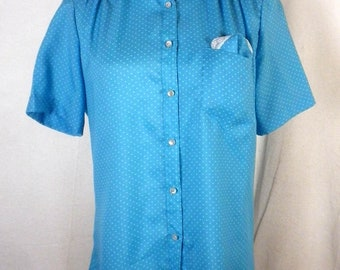 vtg 60s 70s Lady Manhattan Silkhana Blue Polka Dot Shirt Blouse pocket square 8