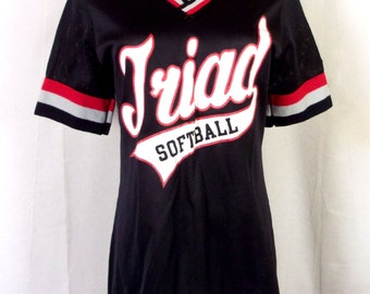 vtg 80s Lady Champion nylon Triad HS Softball Jersey T-Shirt troy Illinois 16