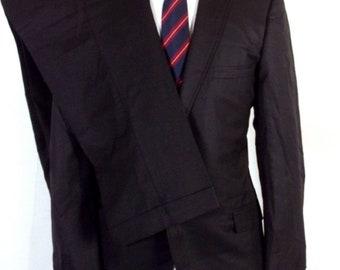 vtg 50s 60s Penneys Towncraft Solid Black 100% Wool Sharkskin 2 Pc Suit sz 40 R