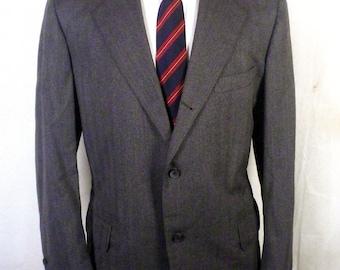 vtg Southwick euc Gray Herringbone Wool 3/2 Roll Blazer Sportcoat canvassed 42 R