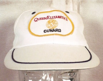 vtg 80s Queen Elizabeth 2 Cunard Snapback Trucker Hat Cap ship captain cruise