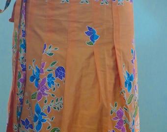 Bright Orange Indonesian Batik Skirt Wrap with Folds 5dffd62da8