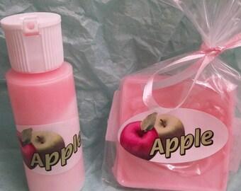 apple mini bath soap and lotion set