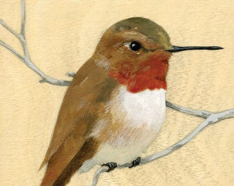 "Reproduction of original ""Rufous Hummingbird"" painting"