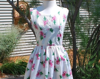 1950's Anne Fogarty Cotton Rose Print Dress