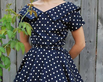 1950's Taffeta Polkadot Party Dress
