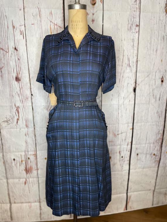 1940s navy blue plaid dress